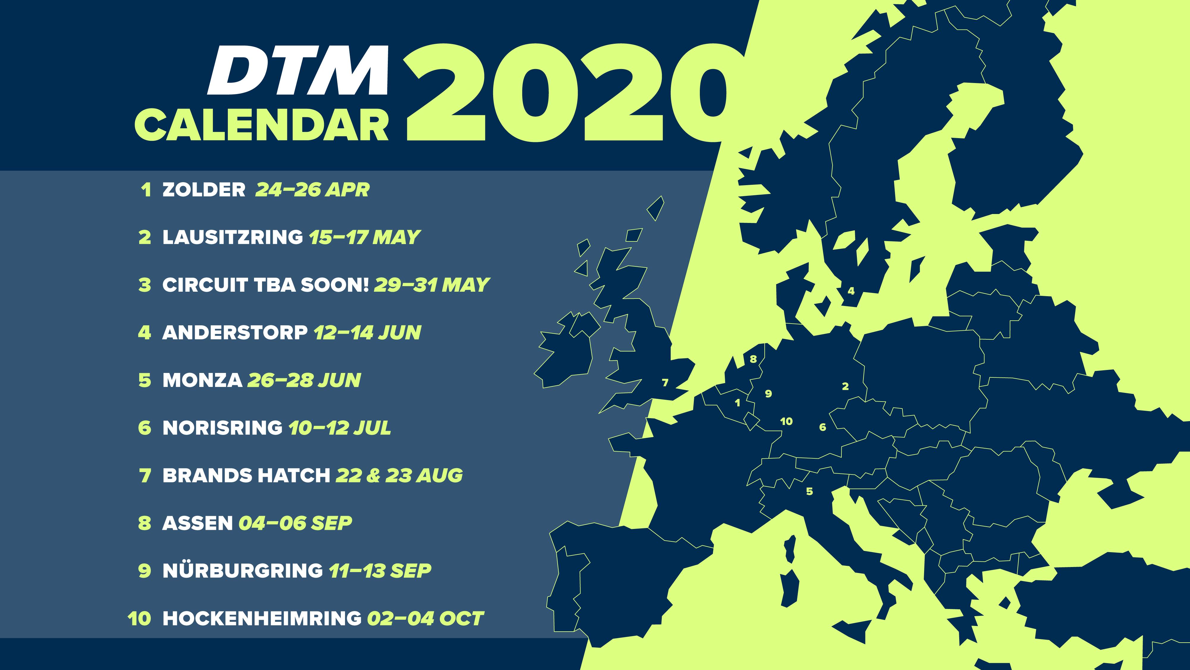 2020 DTM Kalender - Int. ADAC Norisring Speedweekend